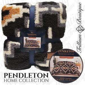 Pendleton Sherpa Fleece Blanket Otero Black NWT